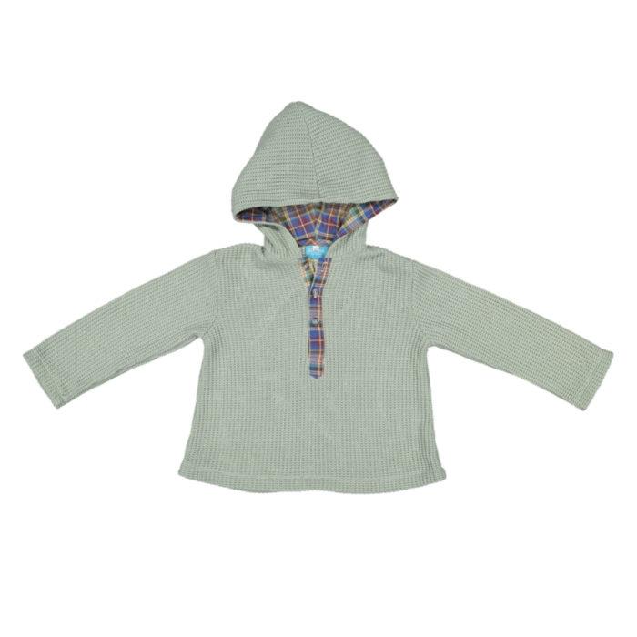 Camisola verde malha com capuz