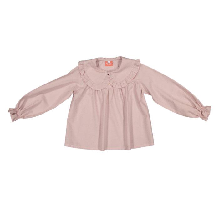 Camisa cor de rosa com pintinhas douradas