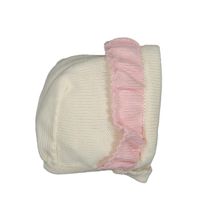 Knitted white bonnet